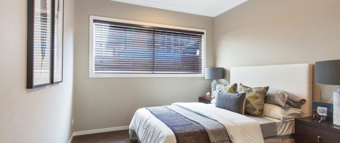 Bedroom with 50mm Basswood Ready made Venetian Blinds - Love Blinds & Awnings