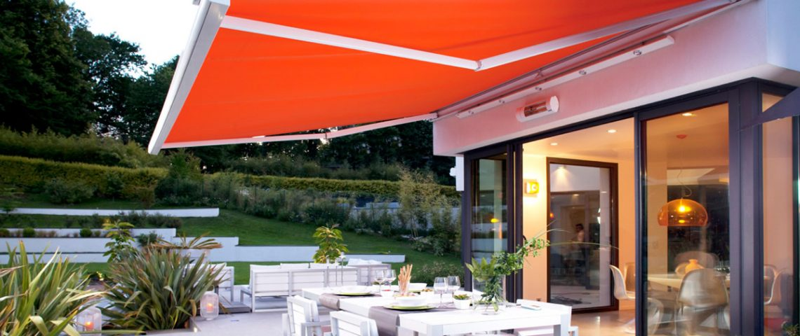 Motorised folding arm awning - Love Blinds & Awnings