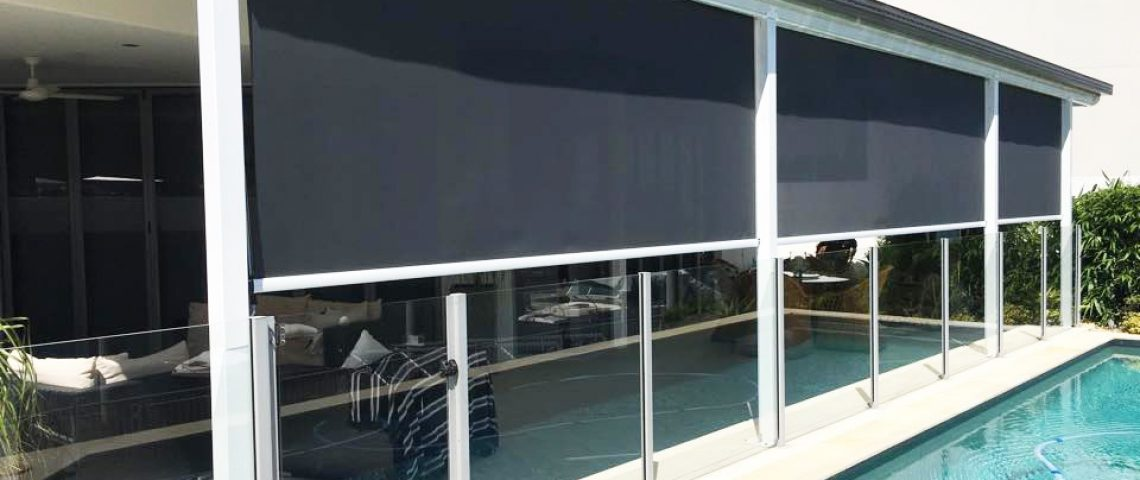 Straight drop awning with with cable side guides - Love Blinds & Awnings