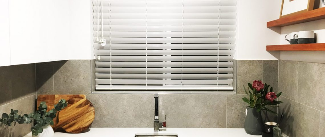 White 50mm Timber Style Venetian Blind In a Kitchen - Love Blinds & Awnings