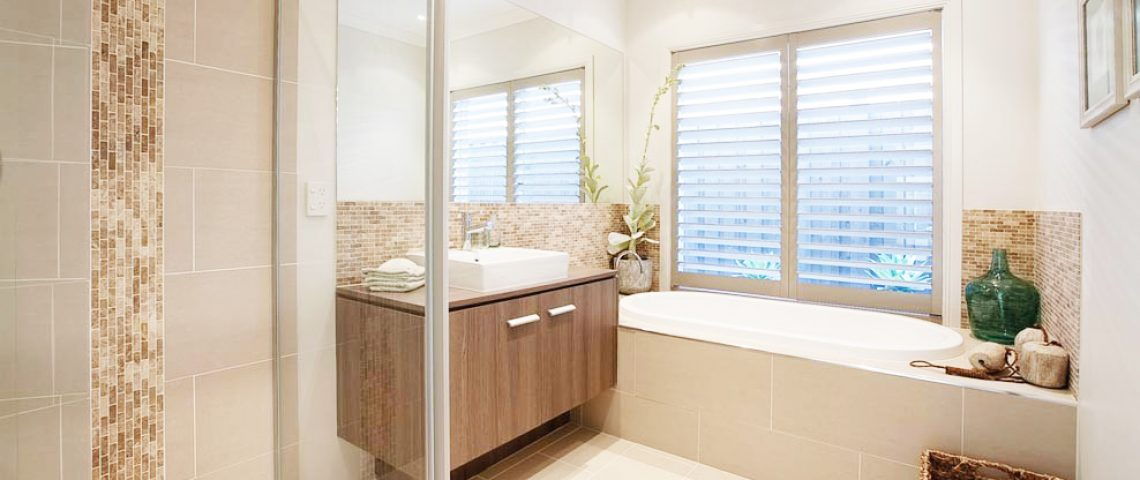 beige bathroom shutter - Love Blinds & Awnings